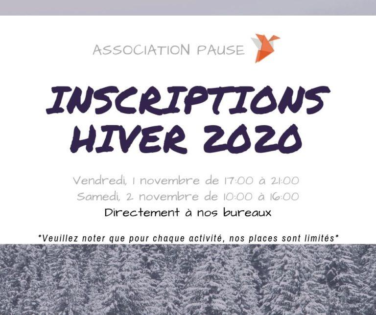 INSCRIPTIONS HIVER 2020